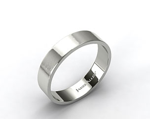 14k White Gold 6mm Flat Satin Finish Comfort Fit Wedding Band