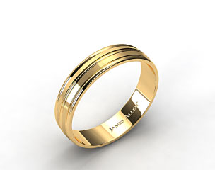 14k Yellow Gold 6mm Grooved Comfort Fit Wedding Band