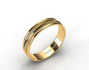 14K Yellow Gold 6mm Arrow Design Comfort Fit Wedding Band