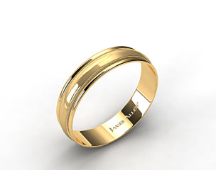 14k Yellow Gold 6mm Milgrain with Double Edge Comfort Fit Wedding Band