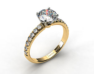 18k Yellow Gold Pave Set Four Prong Diamond Engagement Ring