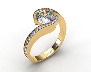 18k Yellow Gold Bypass Pave Set Diamond Engagement Ring