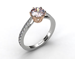 18k White Gold Scroll-Basket Pave Set Diamond Engagement Ring
