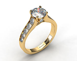 18k Yellow Gold Cross Prong Pave Set Surprise Diamond Engagement Ring
