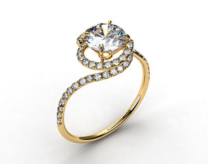 18k Yellow Gold Pave Set Swirl AE100 by Danhov Designer Engagement Ring