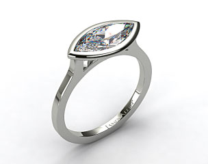 Platinum Bezel Solitaire Engagement Ring (Marquise Center)