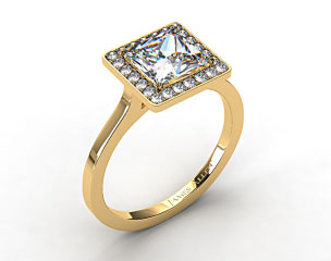 18k Yellow Gold Pave Halo Engagement Ring (Princess Center)