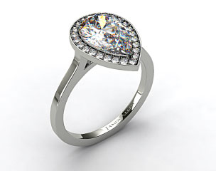 18k White Gold Pave Halo Engagement Ring (Pear Center)