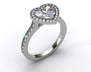 14k White Gold Pave Halo & Shoulders Engagement Ring (Heart Center)