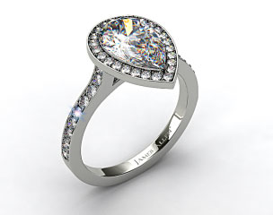 14k White Gold Pave Halo & Shoulders Engagement Ring (Pear Center)