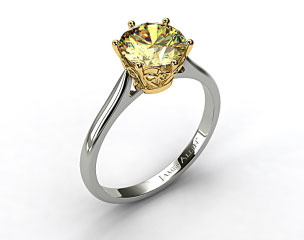 18K White Gold Spring Blossom Six Prong Solitaire Engagement Ring (Yellow Gold Basket)