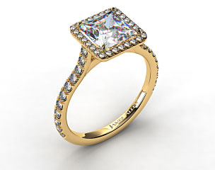 18k Yellow Gold Pave Set Engagement Ring (Princess Center)