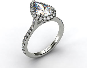 18k White Gold Pave Set Engagement Ring (Pear Center)
