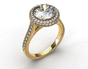 18k Yellow Gold Rippling Wave Diamond Engagement Ring