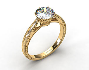 18k Yellow Gold Beaded Ripples Diamond Engagement Ring