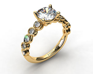 18K Yellow Gold Alernating Pattern Engagment Ring