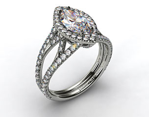18K White Gold Split Shank Engagement Ring with Diamond Halo and Sculpted Design