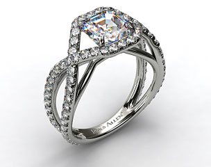14K White Gold Engagment Ring with Braided Pave Overlay