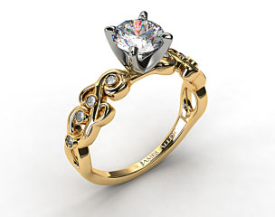 18K Yellow Gold Blossoming Vine Diamond Engagement Ring