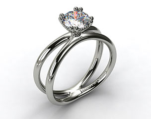 18K White Gold Criss Cross Diamond Solitaire