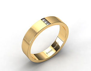 14K Yellow Gold 6mm Recessed Diamond Wedding Ring