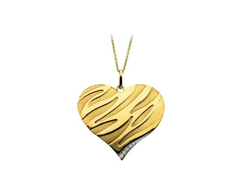 14k Yellow Gold/Rhodium Plated Diamond Heart Necklace