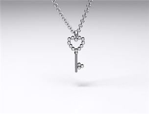 14k White Gold Diamond Heart-Shaped Key Pendant (0.10ctw)