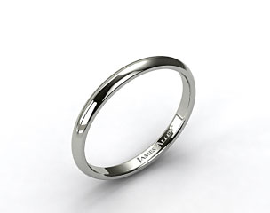 18k White Gold 3mm Slightly Domed Comfort Fit Wedding Ring