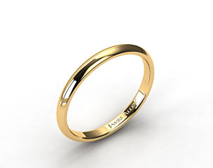 14k Yellow Gold 3mm Slightly Domed Comfort Fit Wedding Ring