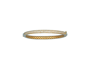 18k Yellow  Gold Pave Set Diamond Bangle 2.00ctw