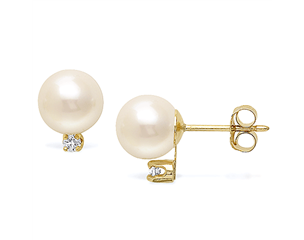 14k Yellow Gold 8-8.5mm Akoya Pearl & Diamond Stud Earrings