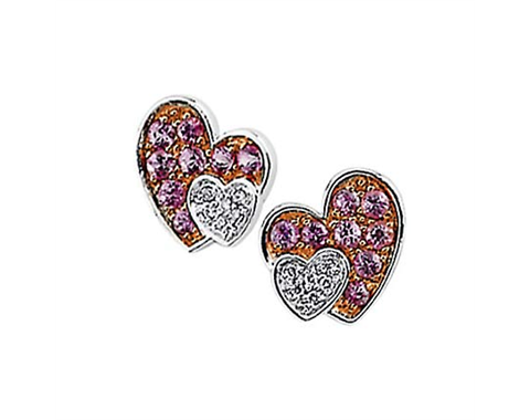 14k White Gold Genuine Pink Sapphire & Diamond Heart Earrings