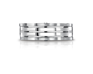 Titanium 7.5mm Grooved Squared Wedding Ring