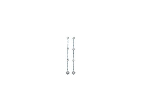 18k White Gold Bezel Set Diamond Earring 0.32ctw