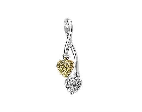 Two Tone Diamond Heart Pendant Slide