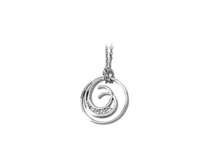 14k White Gold 0.33ctw Diamond Journey Double Swirl Pendant