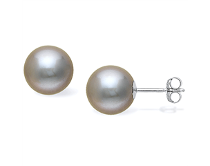 14k  White Gold 10mm Grey Freshwater Pearl Stud Earrings