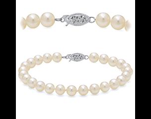 14k White Gold 8.5-9.5mm Freshwater Pearl Bracelet