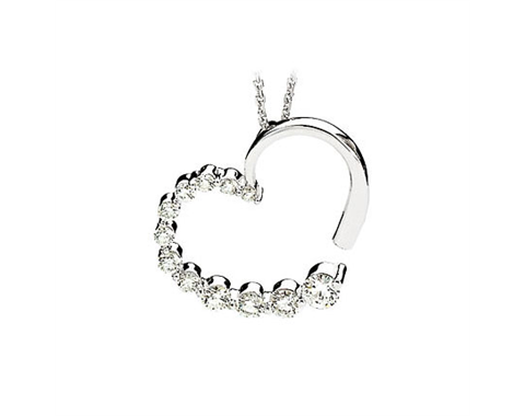 14k White Gold 0.87ctw Diamond Heart Journey Pendant