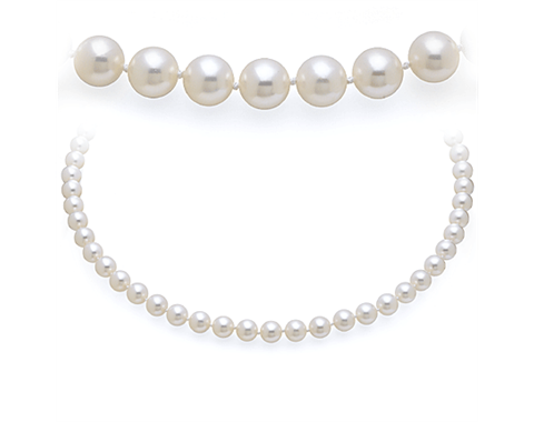 Eighteen Inch 7.5mm Akoya Pearl Strand Necklace with a White Gold Clasp