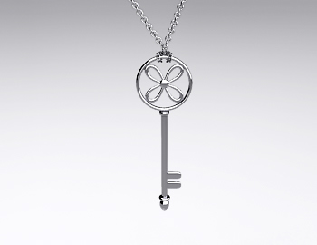 Sterling Silver Flower Key Pendant