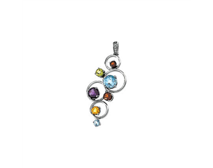 14k White Gold Multi-gemstone Circles Pendant with Pave Bail