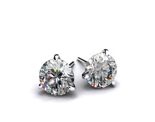 Pair of Ladies 18k White Gold 1/2ctw Three Prong Martini Round Brilliant Diamond Earrings
