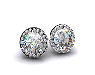 Pair of Ladies 3/4ctw 18k White Gold Round Brilliant Diamond Pave Frame Earrings