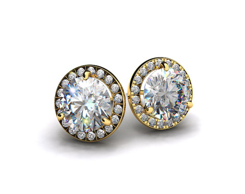 Pair of Ladies 18k Yellow Gold Round Brilliant Diamond Pave Frame Settings