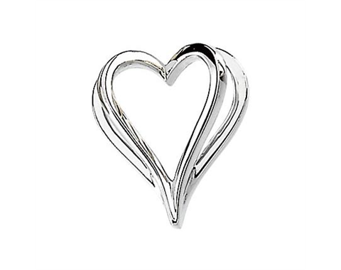 14k White Gold Polished Shadow Heart Pendant Slide