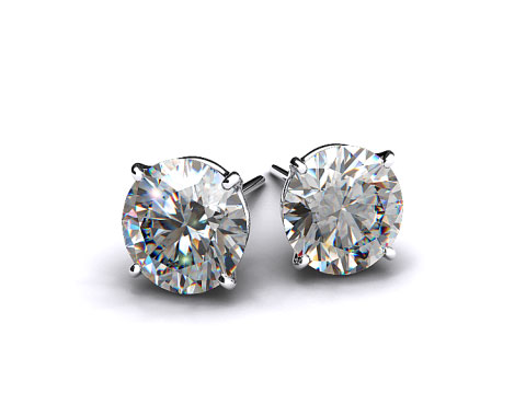 Pair of Classic 1/2ctw Ladies Platinum Four Prong Round Brilliant Diamond Earrings