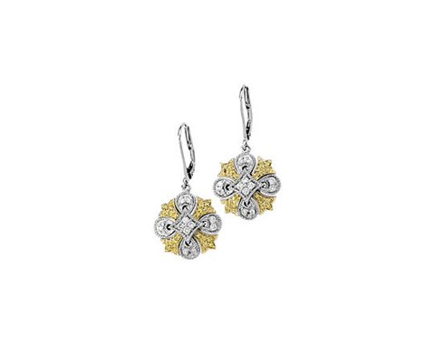 14k White and Yellow Gold Earrings Pave Set with Yellow and White Diamonds at 0.50ctw