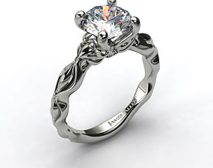 Platinum Diamond Accented Sculpted Designer Engagement Ring