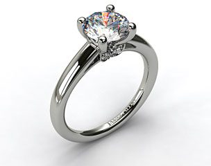14k White Gold Double Pave Leaf Engagement Ring